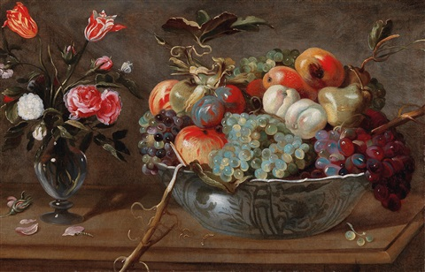 A Still Life Of Fruit And Flowers With Roses And Tulips In A Glass