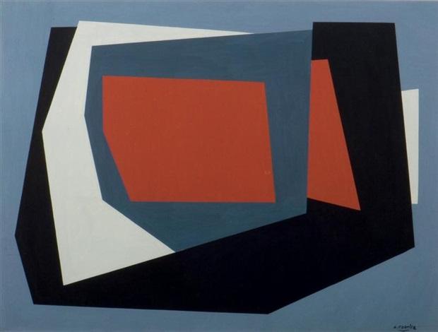 compositie met twee tinten grijs zwart wit en rood by amédée cortier