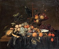nature morte aux fruits et perroquet sur un entablement by andries benedetti