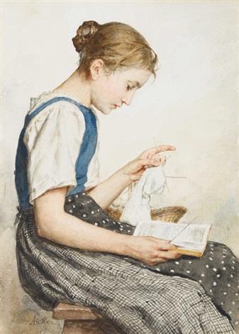 strickendes mädchen beim lesen by albert anker