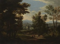 a wooded classical landscape with figures on a path by jan frans van bloemen