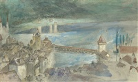 view of the kapellbrucke, with the lake of lucerne beyond by john ruskin