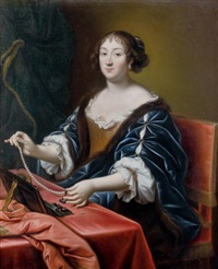 jeune femme se parant d'un collier de perles by pierre mignard the elder
