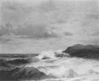 coastal scene with breaking waves by emil gelhaar