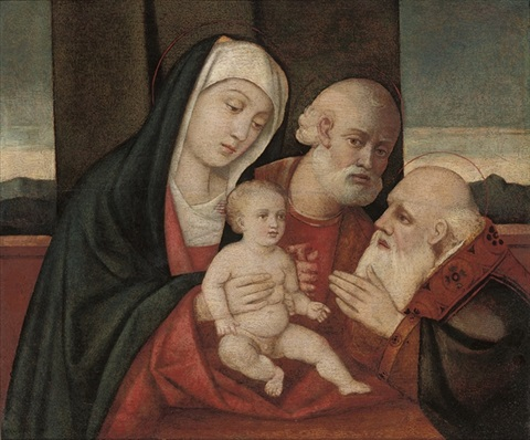 the holy family with a male saint by giovanni bellini
