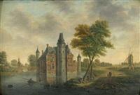 vue d'un château en bord de rivière by hendrik frans de cort