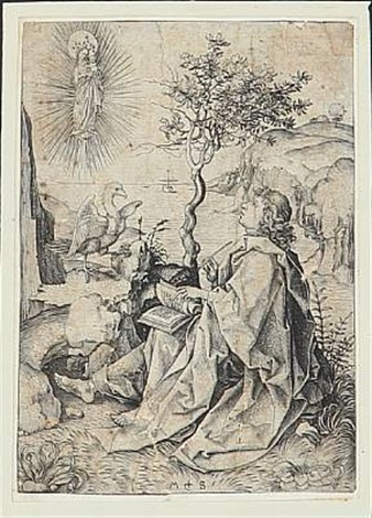 st john the evangelist on patmos by martin schongauer