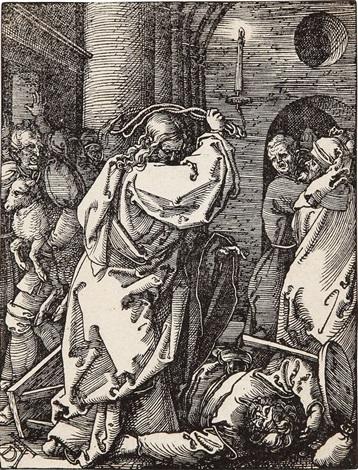 le christ chassant les changeurs de monnaie du temple from la petite passion by albrecht dürer