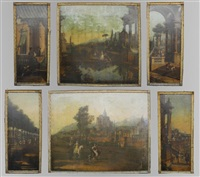 untitled (venetian view) (+ 5 others; 6 works) by francesco battaglioli