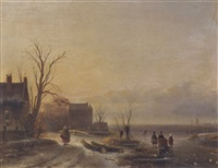 figures on the ice at dusk by cornelis petrus t' hoen