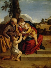 the holy family with the infant saint john the baptist in a landscape by orazio gentileschi