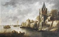 vue d'un village fortifié au bord d'une rivière by françois van knibbergen