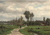 a figure on a village track by adrianus van everdingen