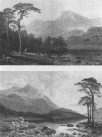 helvellyn from thirlmere, cumberland; sunset on the     langdale pikes, blea-tarn by charles pettitt