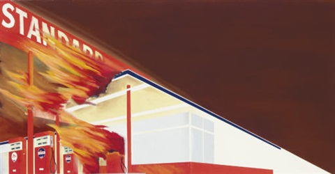 burning gas station by ed ruscha