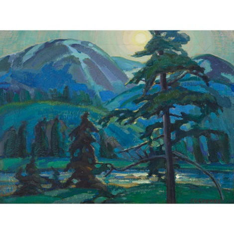 lake and mountain landscape by edith grace coombs