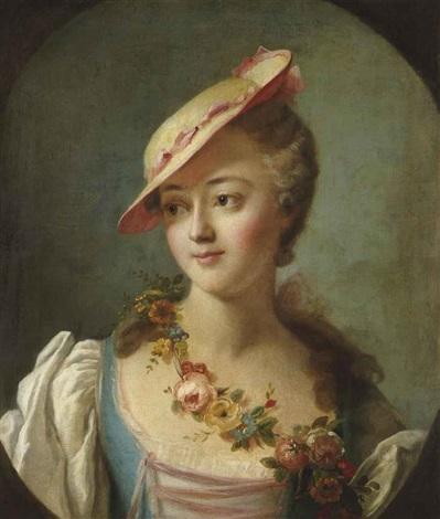 portrait de femme dit la marquise de pompadour en buste by carle van loo