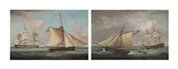 a french frigate hove-to in the channel with an english armed cutter standing by and a dutch barque in the channel accompanied... (a pair) by thomas whitcombe