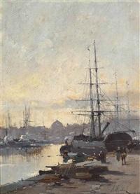 loading ships on the seine, paris by eugène galien-laloue