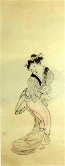 bijin holding a shamisen by yamaguchi soken