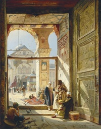the gate of the great umayyad mosque, damascus by gustav bauernfeind