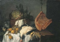 nature morte au chat, volaille, viande, légumes et fruits by philips gysels