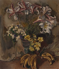 still life with lilies, leucanthemum, sunflowers and bananas by dirk filarski