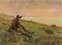 berger sur la falaise au coucher du soleil by louis le poitevin