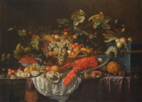 a still life of assorted fruits in a basket by cornelis de bryer