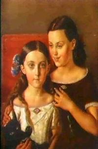 portratt av brorsdottrarna sigrid och anna mazer by carl petter mazer