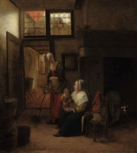 mother and child with a serving woman sweeping by pieter de hooch