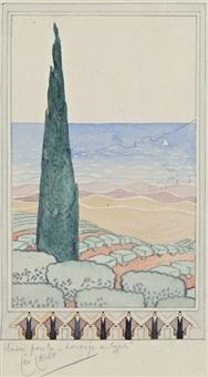 la louange du cyprès (study) by léo lelee