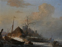 paysage de rivière en hollande animé de personnages près d'un bateau en bois et koek-en-zopie by antonie waldorp