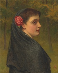young woman with a rose in her hair by charles sillem lidderdale