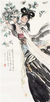 仕女 镜片 设色纸本 by cheng shifa