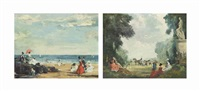 a day at the beach (+ fête champêtre; pair) by raoul millais