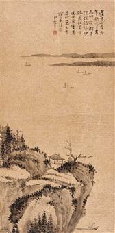 flußlandschaft mit pavillon und gelehrtem in einem boot by li yu