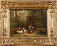 coq et poules à l'écurie by édouard-joris moerenhout
