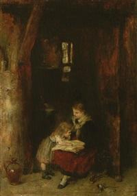 vorlesendes mädchen mit kleinem kind by hans kadeder
