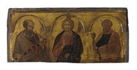 christ between saints paul and peter by pietro lorenzetti