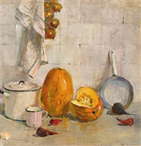 still life with pumpkin and pan by yuri (georgiy) ivanovich pimenov