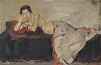 reclining nude, london by isaac israels