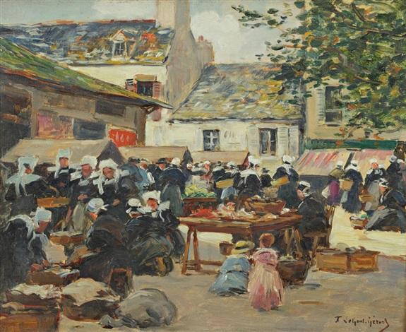 scène de marché en bretagne by fernand marie eugène legout gérard