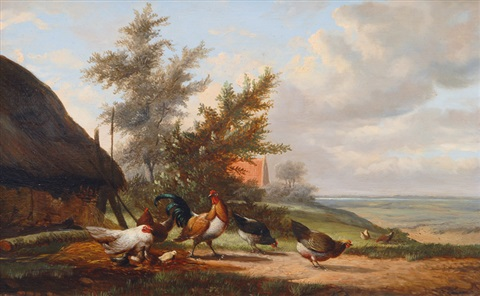 chicken yard by johan lodewijk van leemputten
