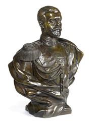 a bronze portrait bust of nicholas ii by leopold bernhard bernstamm
