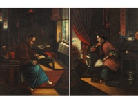 mandarin scholar and his wife (2 works) by anglo-chinese school (19)