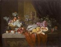 nature morte de fruits, légumes et pièces d'orfèvrerie sur un entablement de pierre by alexander coosemans