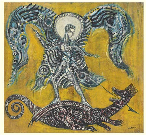 untitled archangel michael and the dragon by robert smithson