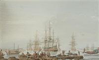 bâtiment de commandement et sept vaisseaux au mouillage dans le port de gênes by louis nicolas van blarenberghe