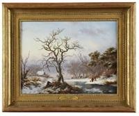 a winter landscape by frederik marinus kruseman